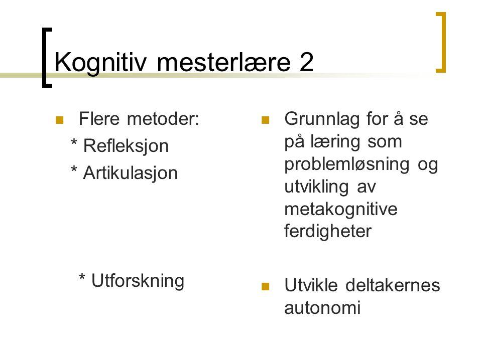 Kognitiv mesterlære 2 Flere metoder: * Refleksjon * Artikulasjon