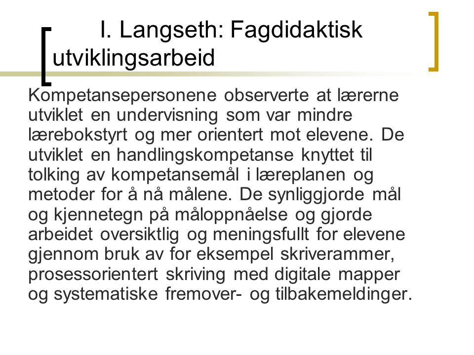 I. Langseth: Fagdidaktisk utviklingsarbeid
