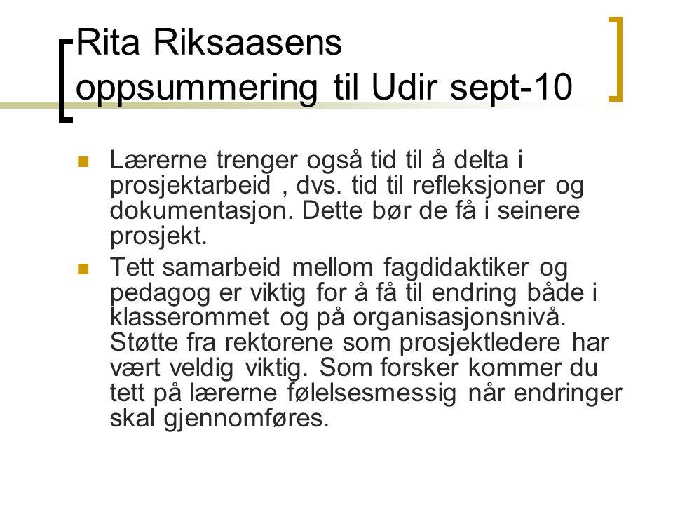 Rita Riksaasens oppsummering til Udir sept-10