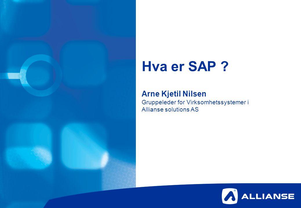 Hva er SAP Arne Kjetil Nilsen Gruppeleder for Virksomhetssystemer i Allianse solutions AS