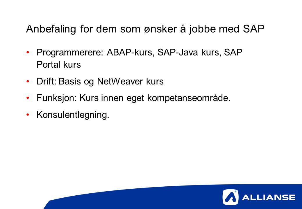 Anbefaling for dem som ønsker å jobbe med SAP