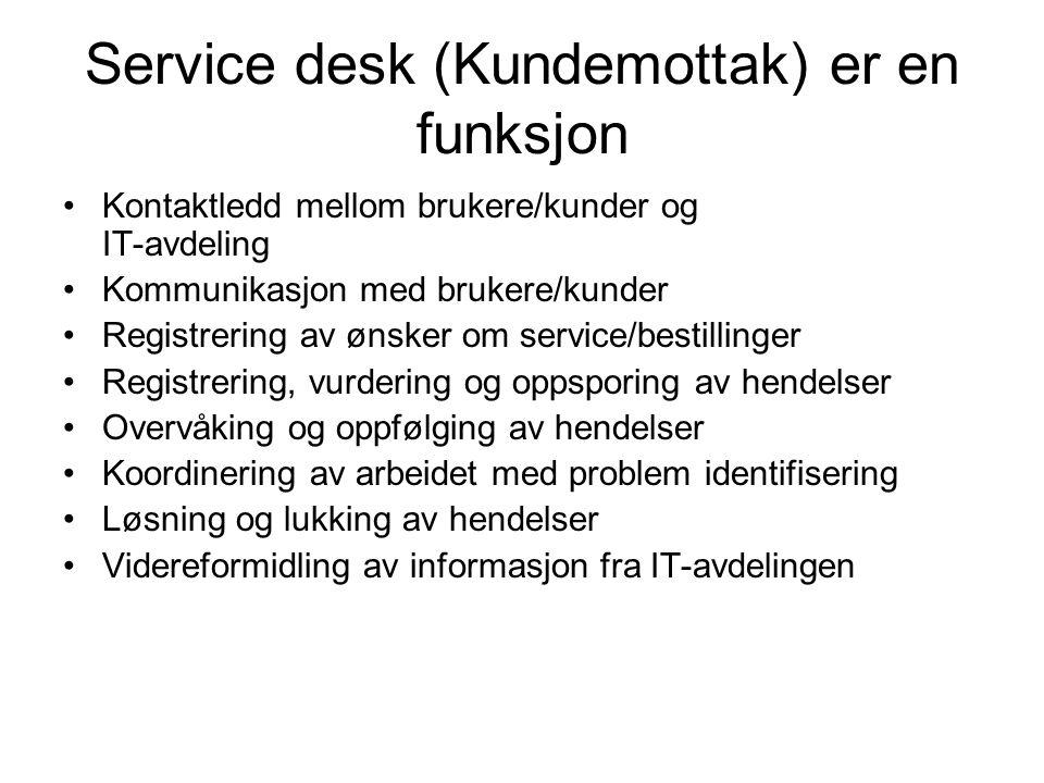 Service desk (Kundemottak) er en funksjon