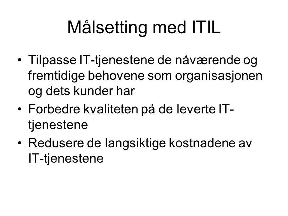 Målsetting med ITIL Tilpasse IT-tjenestene de nåværende og fremtidige behovene som organisasjonen og dets kunder har.