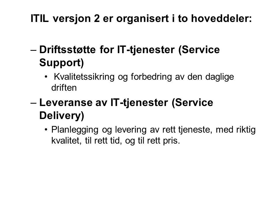 ITIL versjon 2 er organisert i to hoveddeler:
