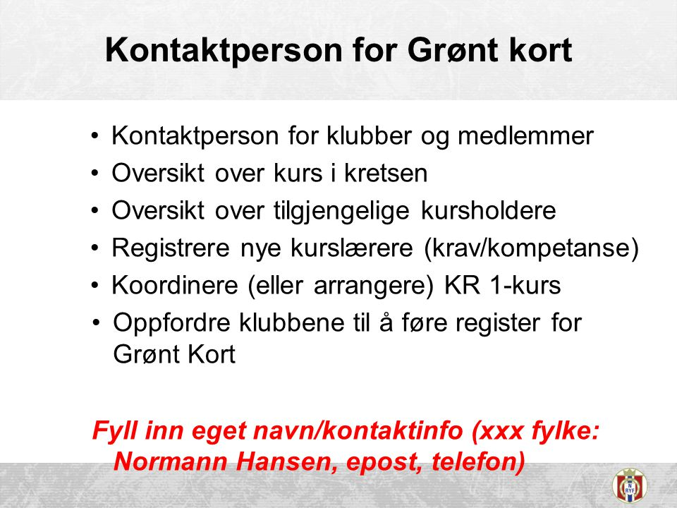 Kontaktperson for Grønt kort