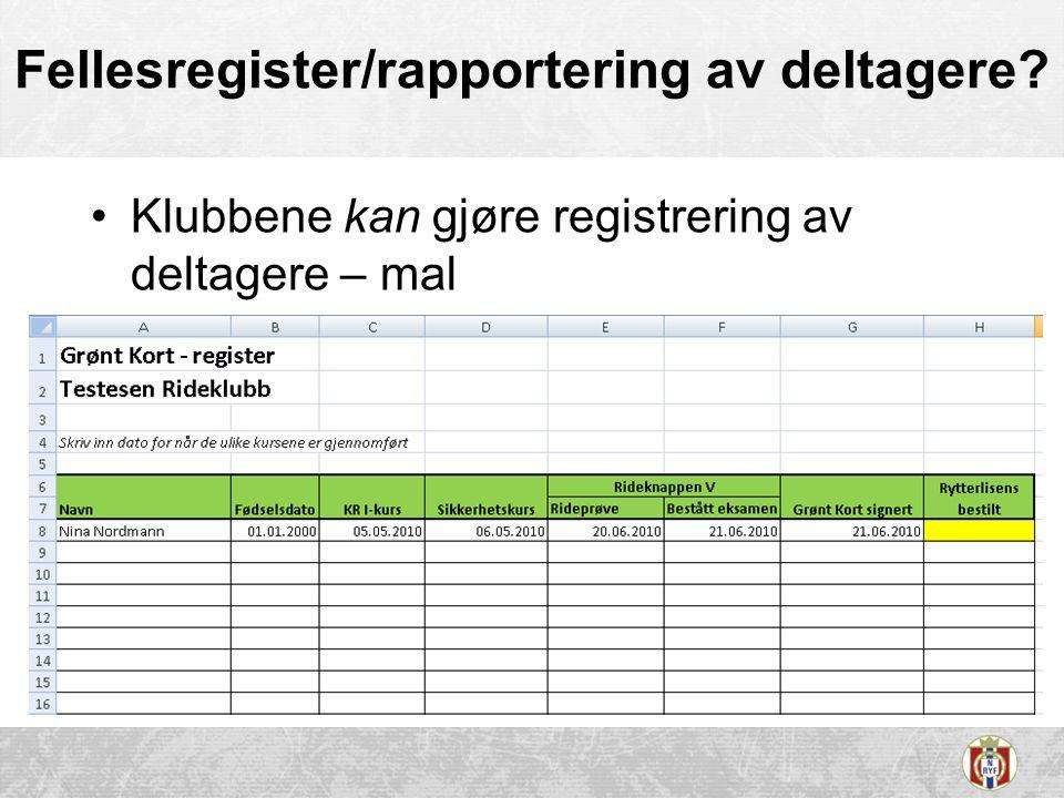 Fellesregister/rapportering av deltagere