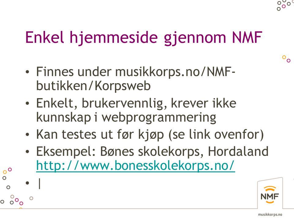 Enkel hjemmeside gjennom NMF