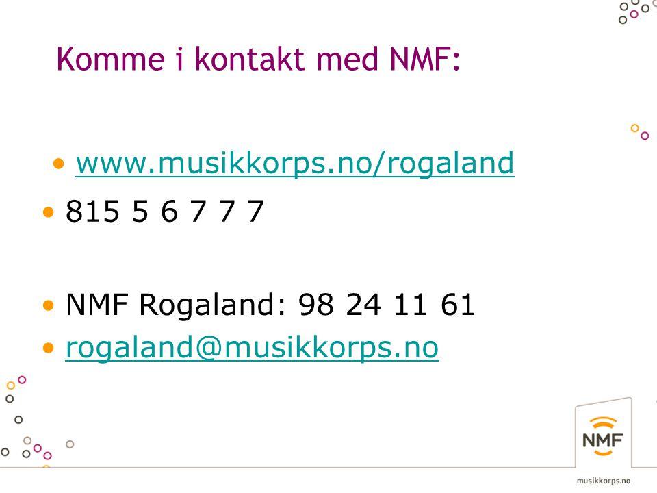 Komme i kontakt med NMF: