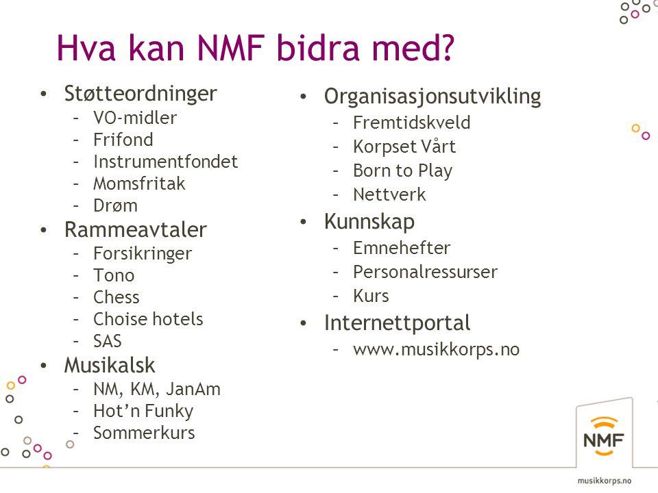 Hva kan NMF bidra med Støtteordninger Rammeavtaler Musikalsk