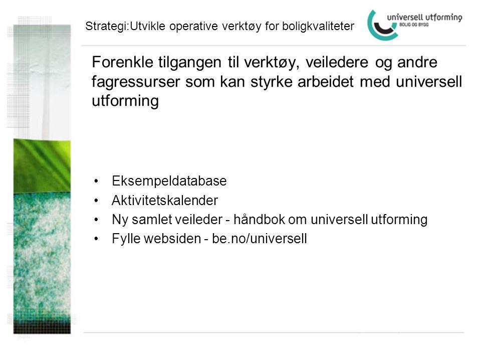 Strategi:Utvikle operative verktøy for boligkvaliteter
