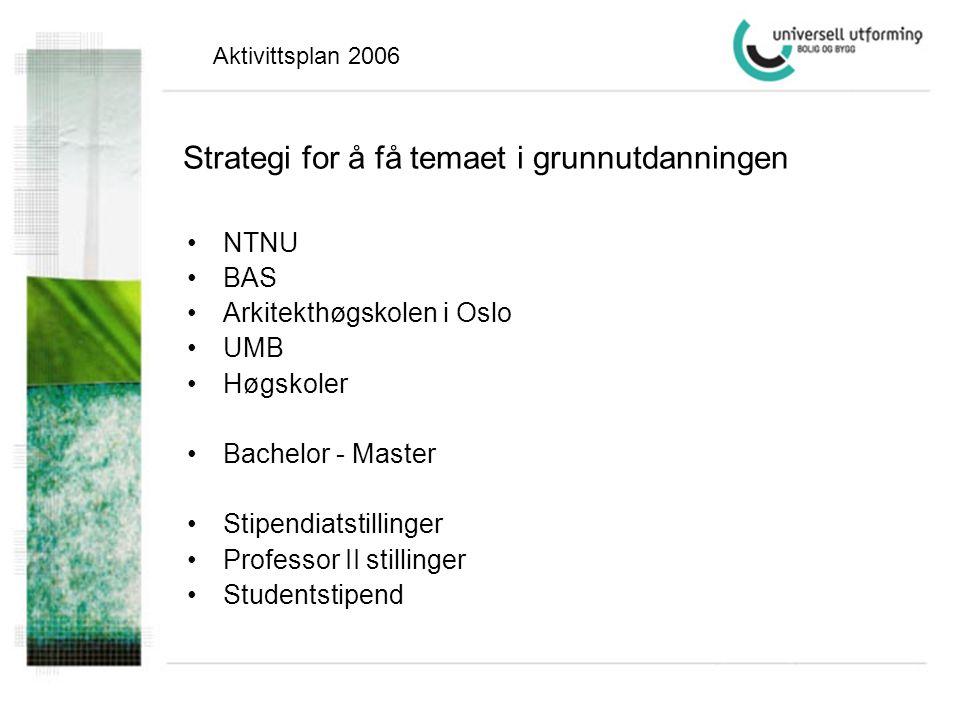Strategi for å få temaet i grunnutdanningen