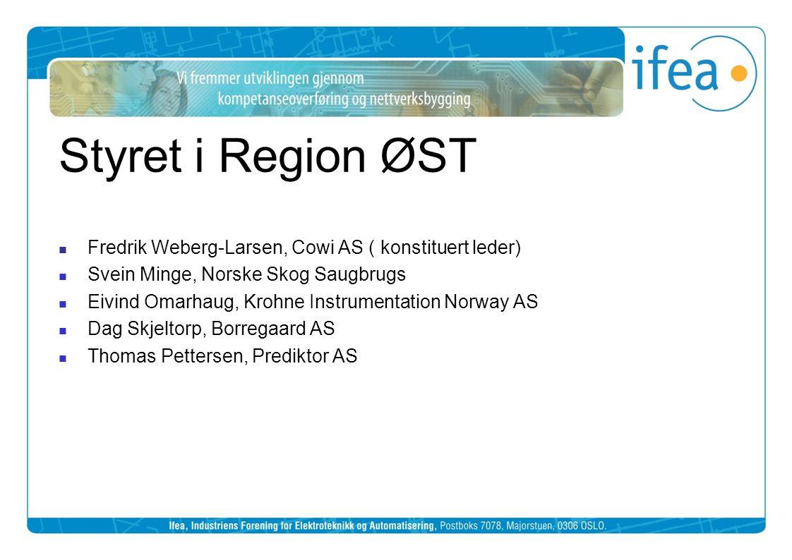Styret i Region ØST Fredrik Weberg-Larsen, Cowi AS ( konstituert leder) Svein Minge, Norske Skog Saugbrugs.