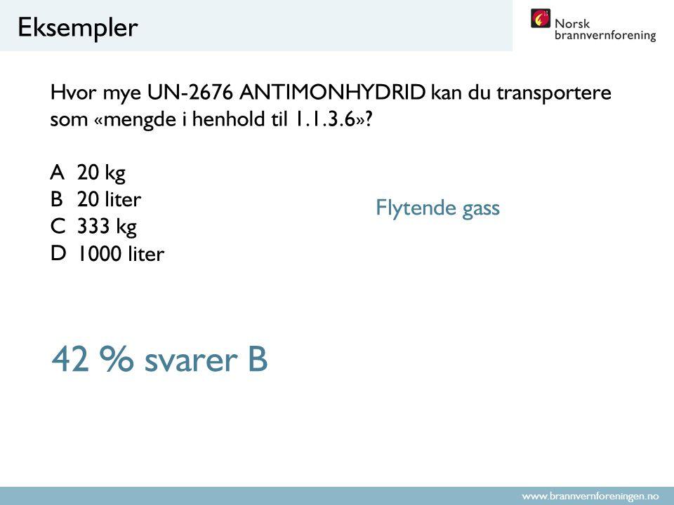 42 % svarer B Eksempler Flytende gass