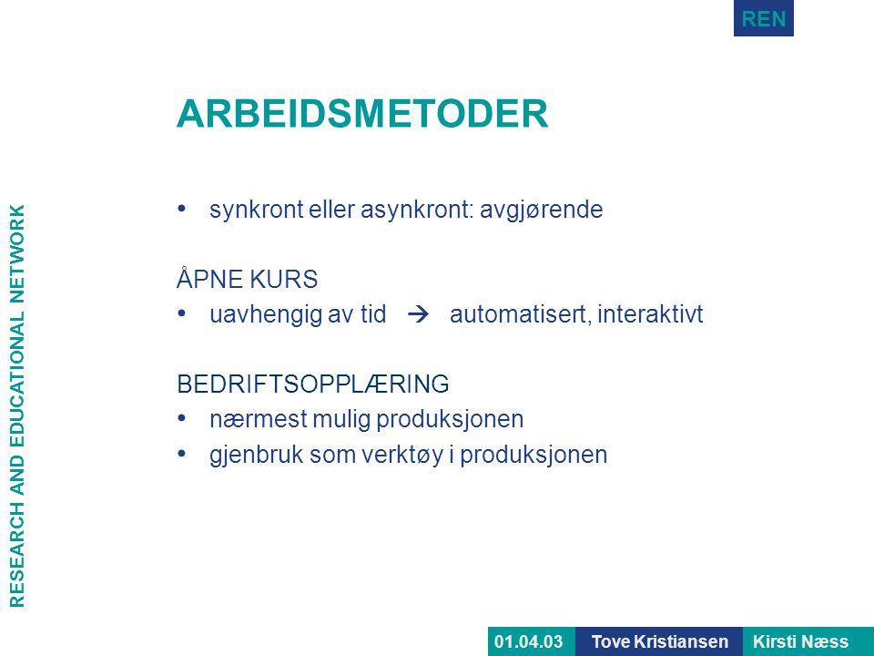 ARBEIDSMETODER synkront eller asynkront: avgjørende ÅPNE KURS