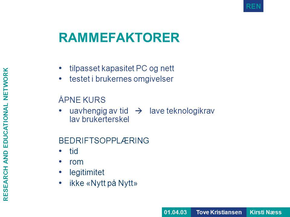 RAMMEFAKTORER tilpasset kapasitet PC og nett