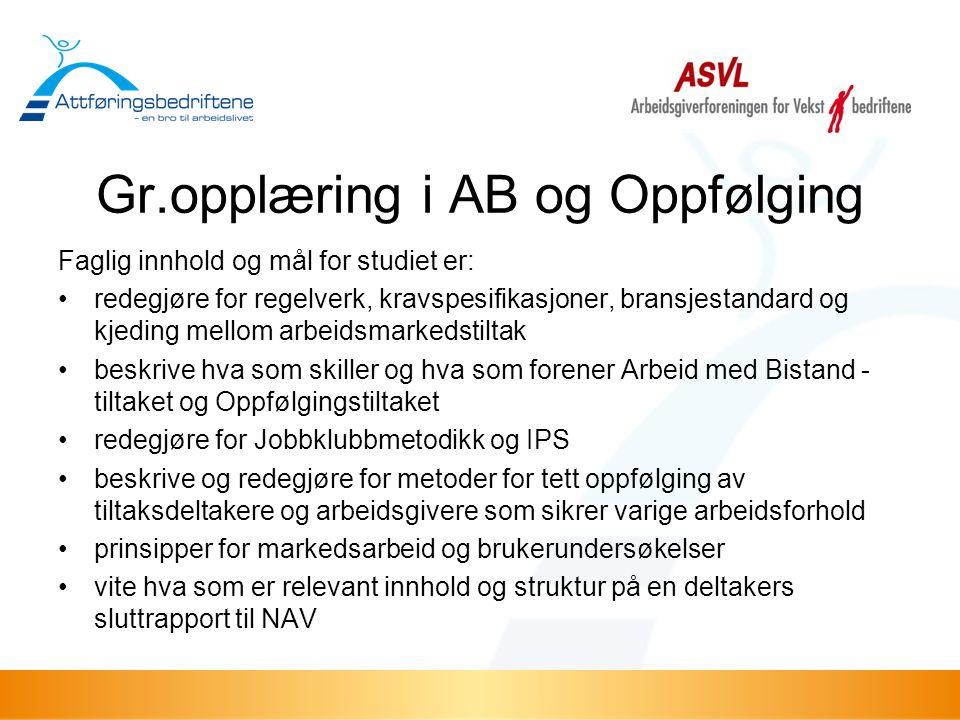 Gr.opplæring i AB og Oppfølging