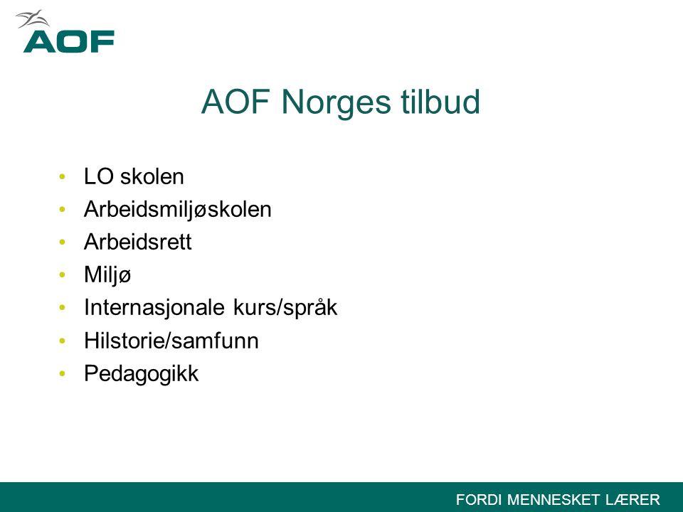 AOF Norges tilbud LO skolen Arbeidsmiljøskolen Arbeidsrett Miljø