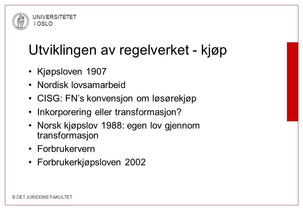 Utviklingen av regelverket - kjøp