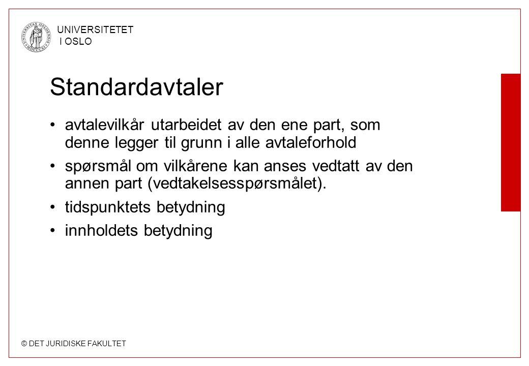 Standardavtaler avtalevilkår utarbeidet av den ene part, som denne legger til grunn i alle avtaleforhold.