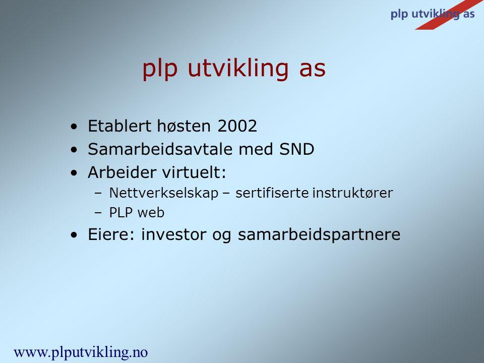 plp utvikling as Etablert høsten 2002 Samarbeidsavtale med SND