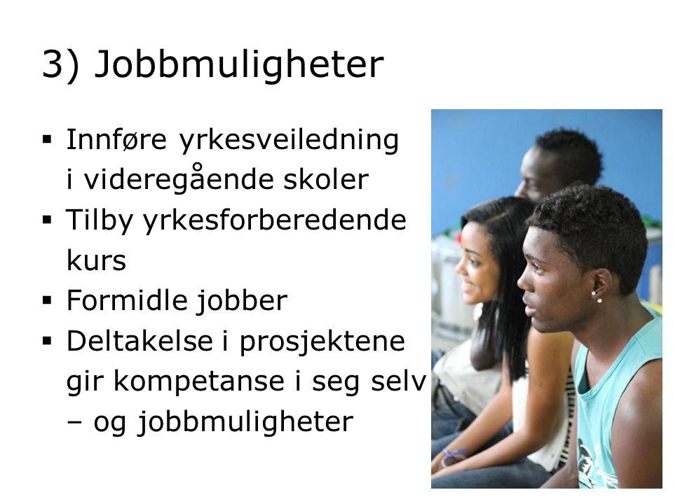 3) Jobbmuligheter Innføre yrkesveiledning i videregående skoler