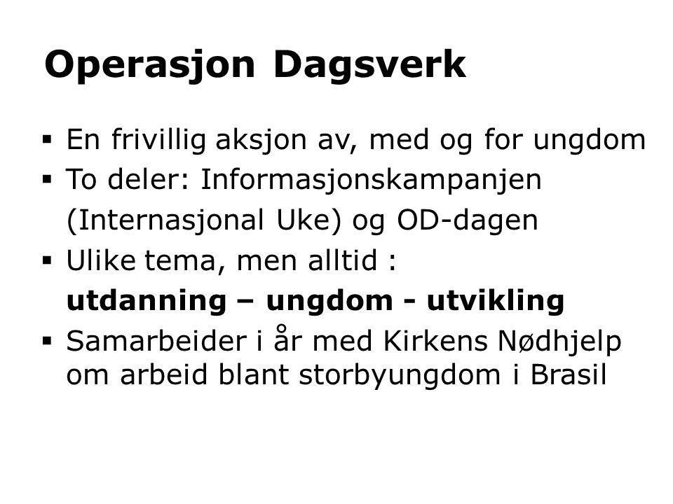 Operasjon Dagsverk En frivillig aksjon av, med og for ungdom
