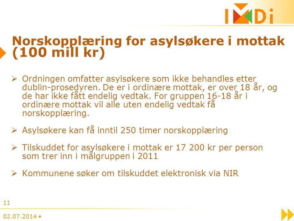 Norskopplæring for asylsøkere i mottak (100 mill kr)