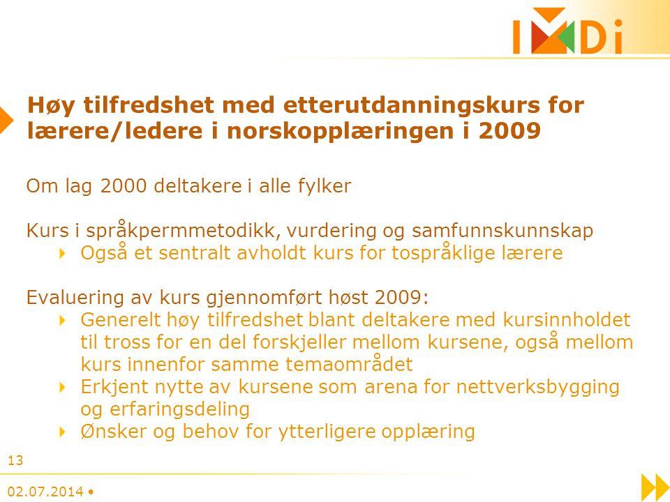 Høy tilfredshet med etterutdanningskurs for lærere/ledere i norskopplæringen i 2009