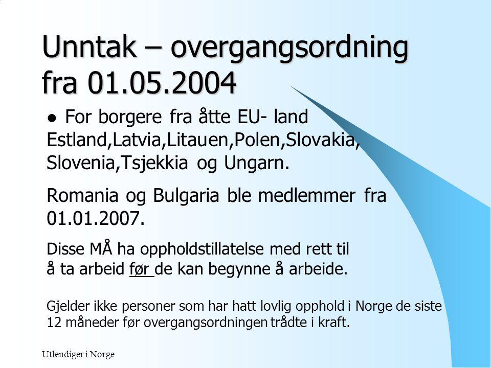 Unntak – overgangsordning fra 01.05.2004