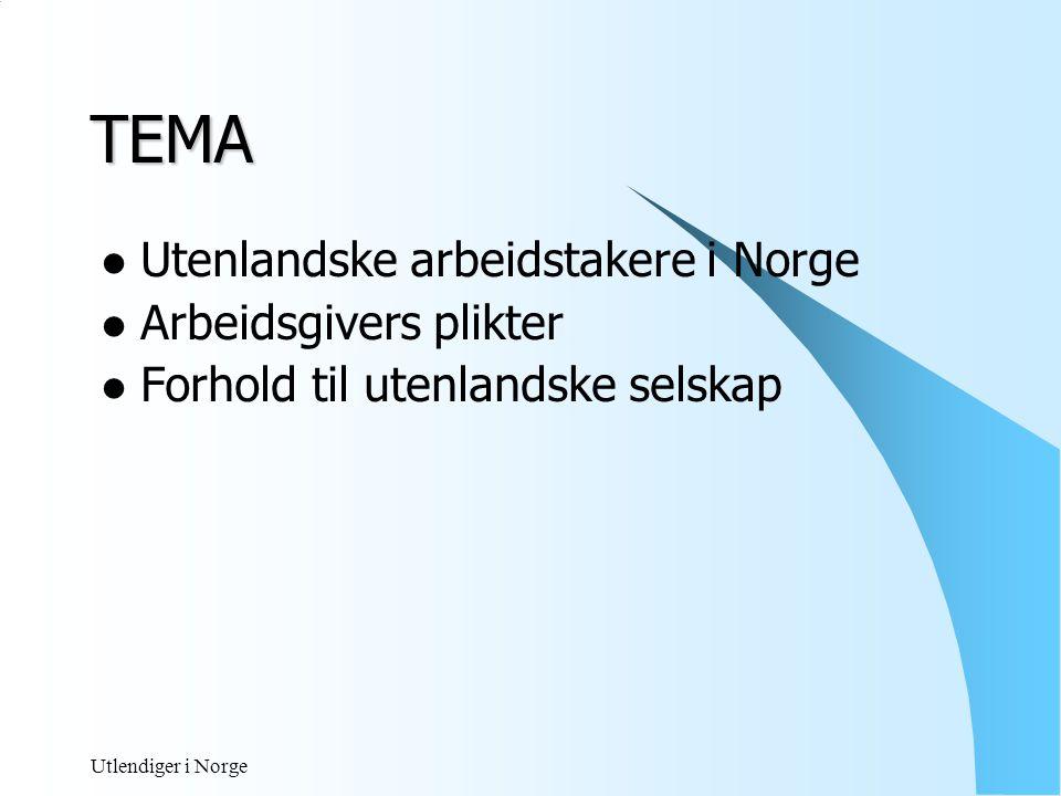 TEMA Utenlandske arbeidstakere i Norge Arbeidsgivers plikter