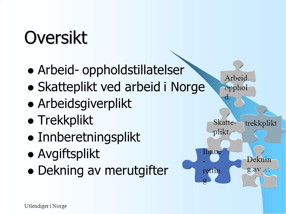 Oversikt Arbeid- oppholdstillatelser Skatteplikt ved arbeid i Norge