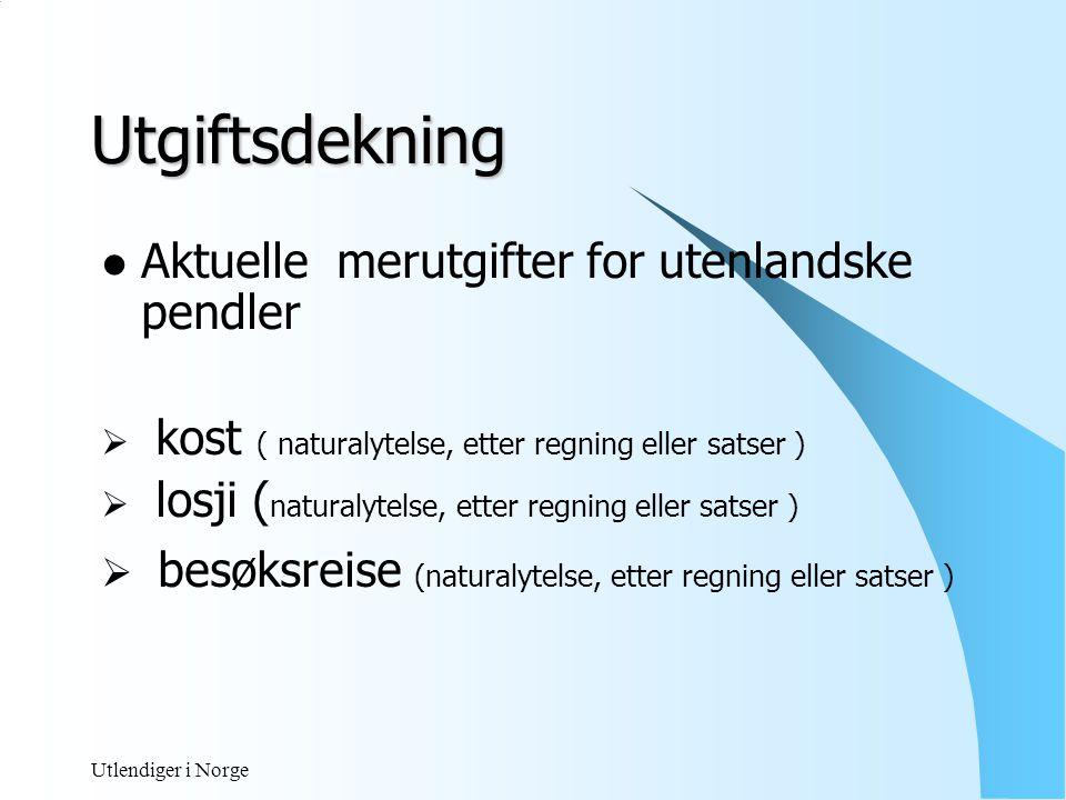 Utgiftsdekning Aktuelle merutgifter for utenlandske pendler. kost ( naturalytelse, etter regning eller satser )
