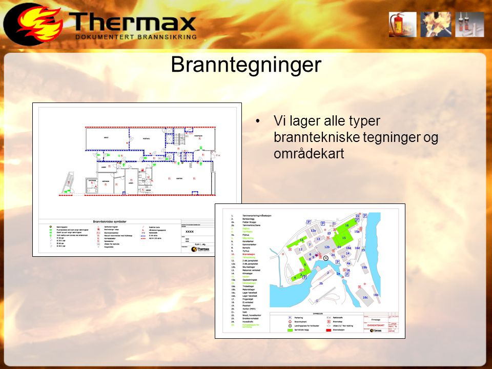Branntegninger Vi lager alle typer branntekniske tegninger og områdekart