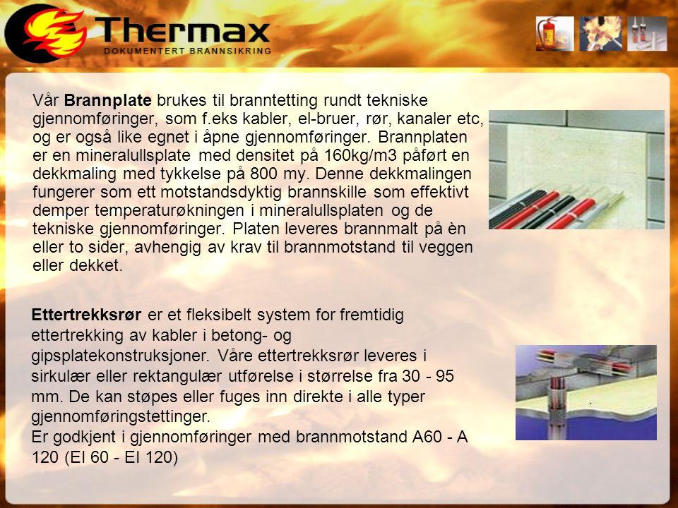 Vår Brannplate brukes til branntetting rundt tekniske gjennomføringer, som f.eks kabler, el-bruer, rør, kanaler etc, og er også like egnet i åpne gjennomføringer. Brannplaten er en mineralullsplate med densitet på 160kg/m3 påført en dekkmaling med tykkelse på 800 my. Denne dekkmalingen fungerer som ett motstandsdyktig brannskille som effektivt demper temperaturøkningen i mineralullsplaten og de tekniske gjennomføringer. Platen leveres brannmalt på èn eller to sider, avhengig av krav til brannmotstand til veggen eller dekket.