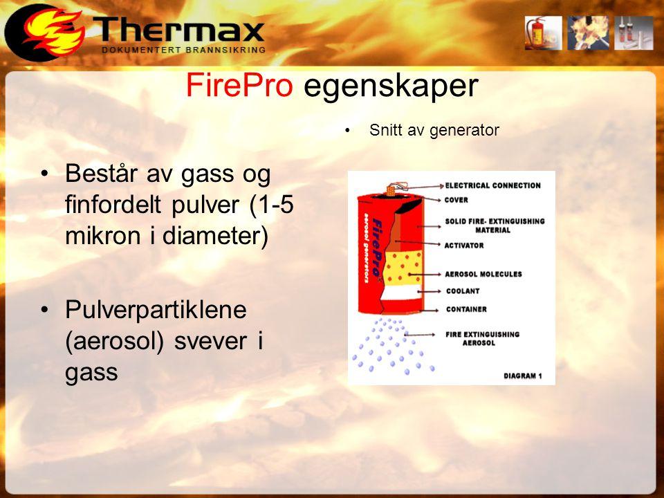 FirePro egenskaper Består av gass og finfordelt pulver (1-5 mikron i diameter) Pulverpartiklene (aerosol) svever i gass.