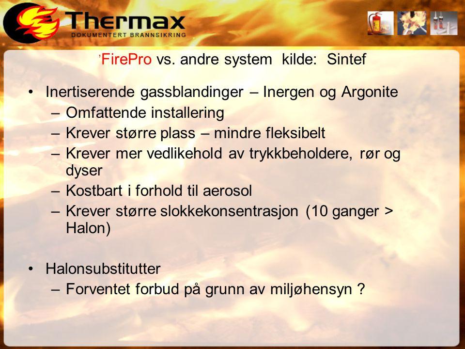 'FirePro vs. andre system kilde: Sintef