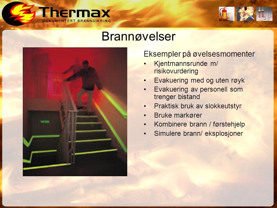 Brannøvelser Eksempler på øvelsesmomenter