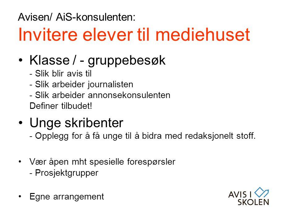 Avisen/ AiS-konsulenten: Invitere elever til mediehuset