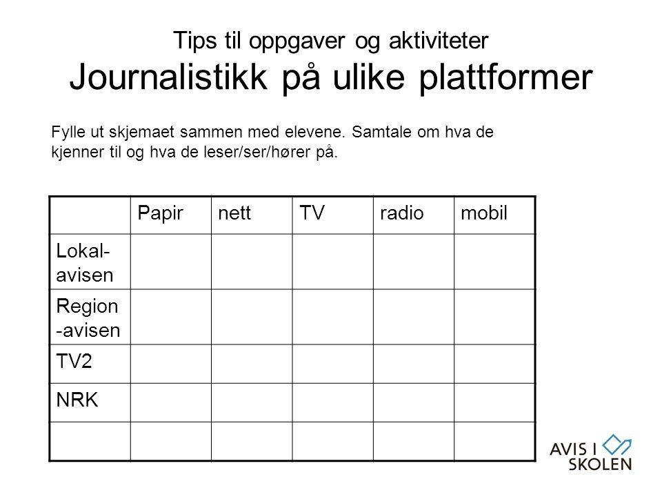 Tips til oppgaver og aktiviteter Journalistikk på ulike plattformer