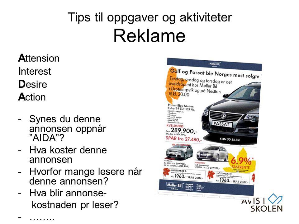 Tips til oppgaver og aktiviteter Reklame