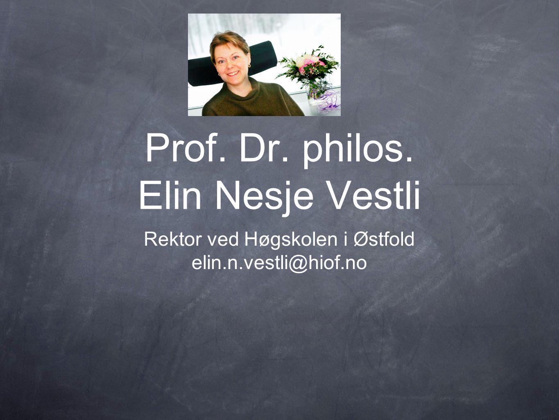 Prof. Dr. philos. Elin Nesje Vestli