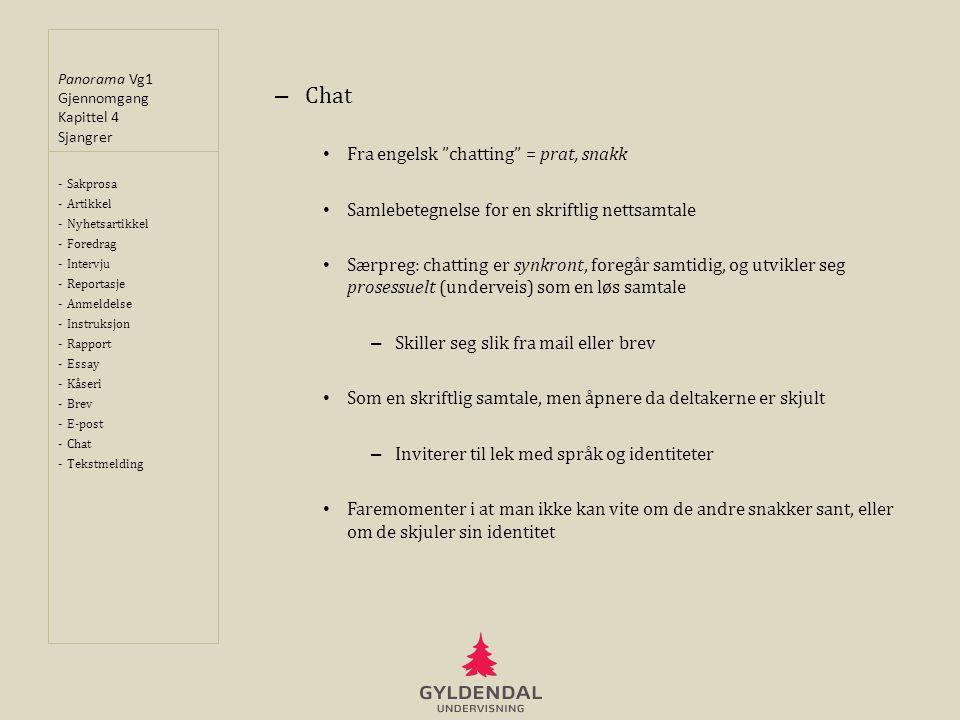 Chat Fra engelsk chatting = prat, snakk