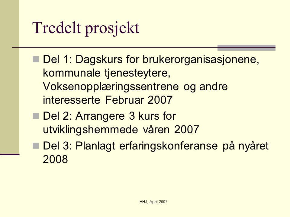Tredelt prosjekt Del 1: Dagskurs for brukerorganisasjonene, kommunale tjenesteytere, Voksenopplæringssentrene og andre interesserte Februar 2007.