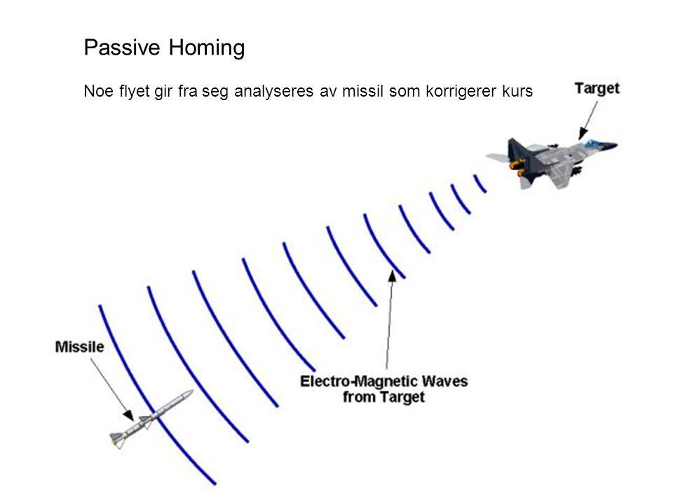Passive Homing Noe flyet gir fra seg analyseres av missil som korrigerer kurs
