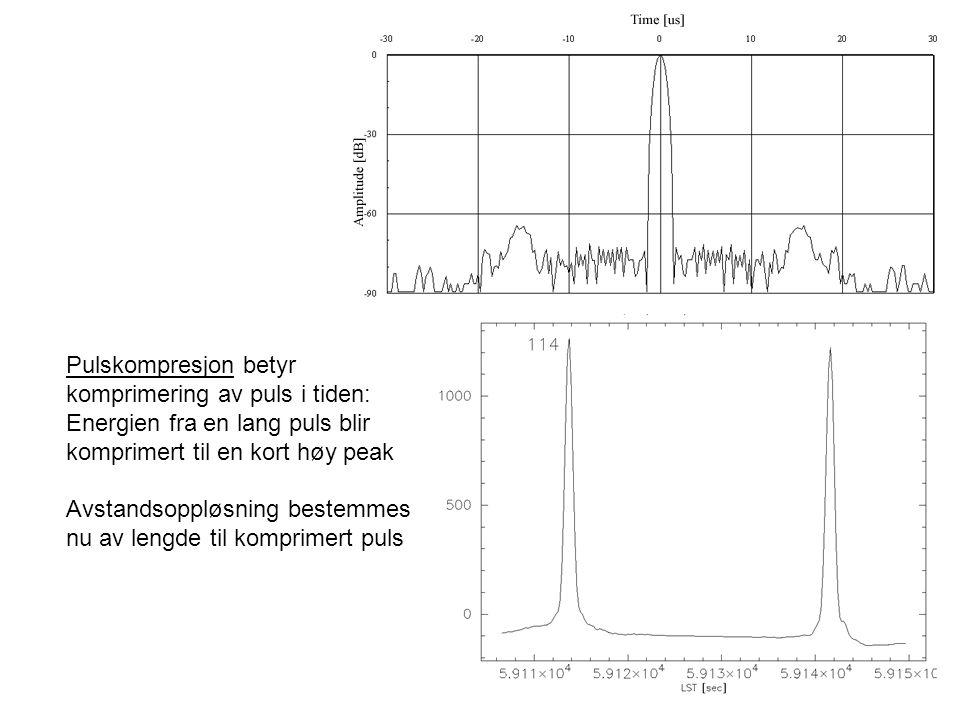 Pulskompresjon betyr komprimering av puls i tiden: Energien fra en lang puls blir. komprimert til en kort høy peak.