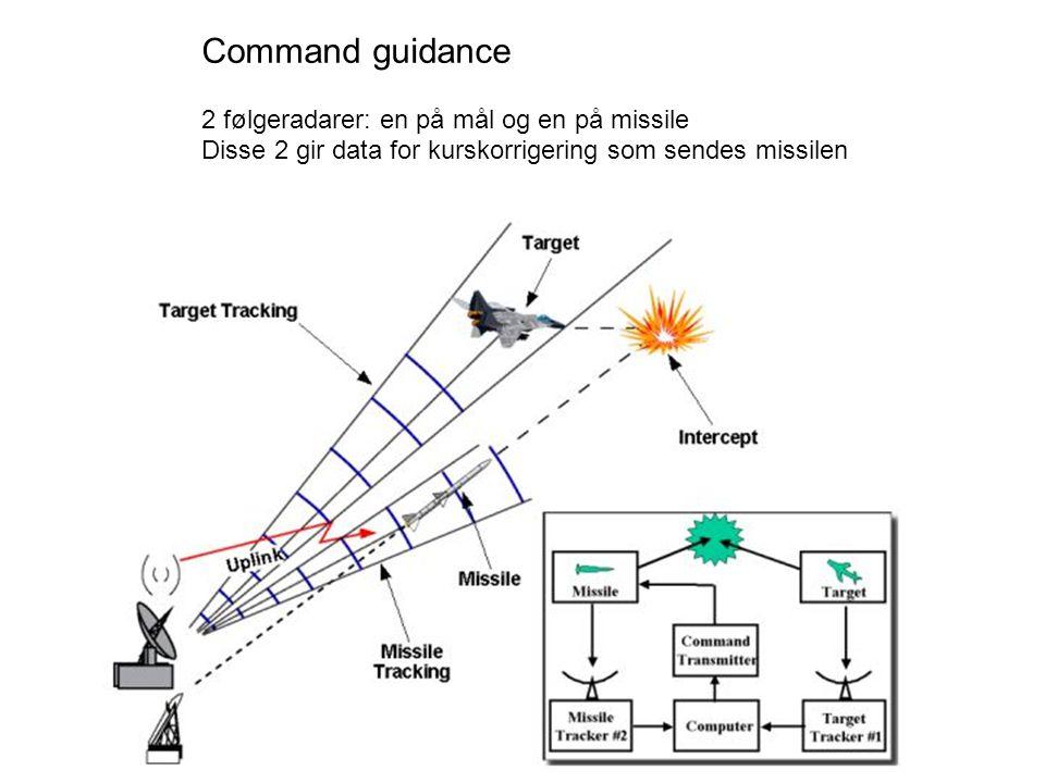 Command guidance 2 følgeradarer: en på mål og en på missile