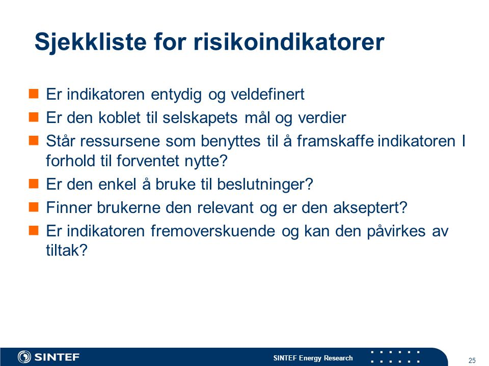 Sjekkliste for risikoindikatorer