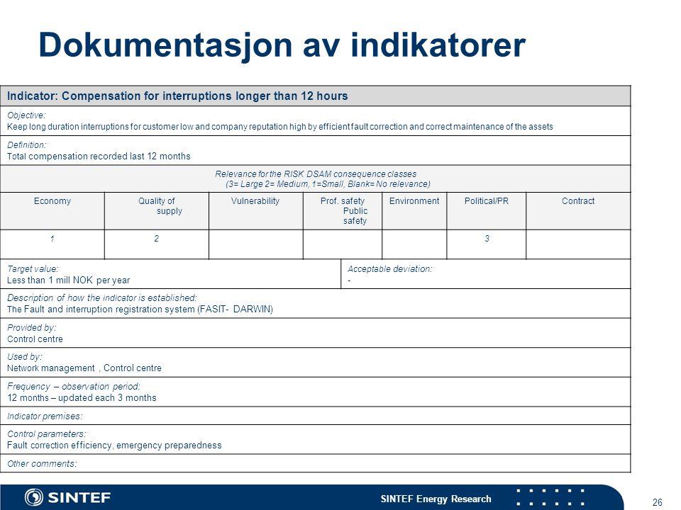 Dokumentasjon av indikatorer