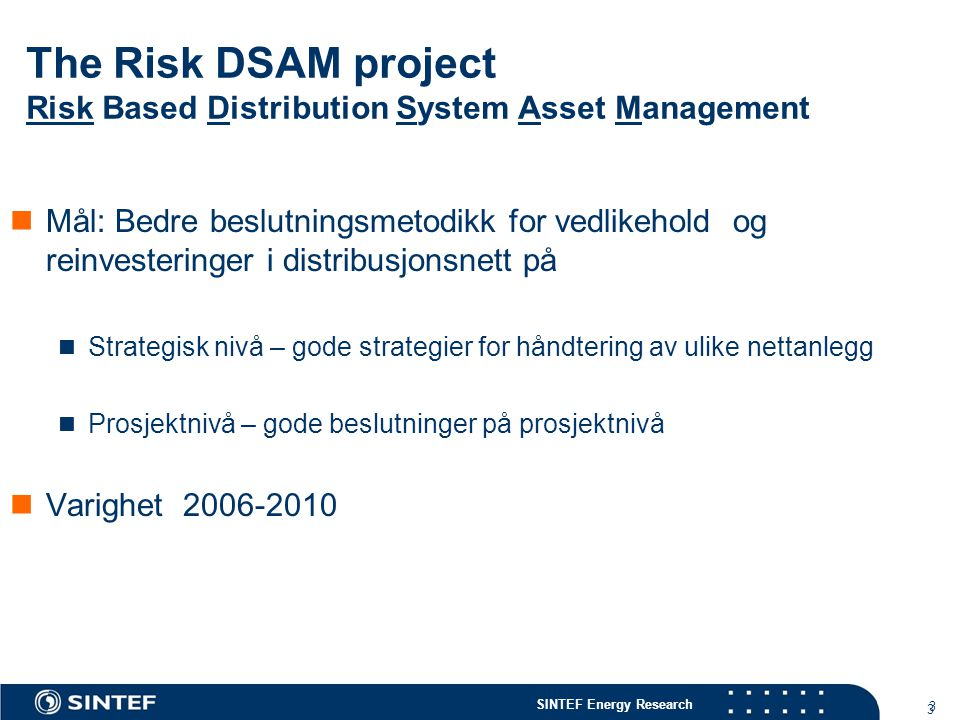 The Risk DSAM project Risk Based Distribution System Asset Management