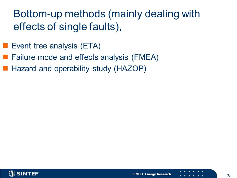 Bottom-up methods (mainly dealing with effects of single faults),